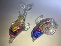 Pair Italian Art Glass Murano Dolphins Splatters Of Color Encased In Clear