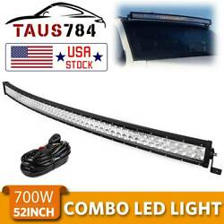 Curved 52inch 700w Led Light Bar Flood Spot Roof Driving Truck Rzr Suv Atv 50''