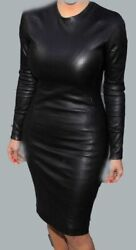 New Women Black Genuine Lambskin Leather Cocktail Ladies Party Dress - Wd039