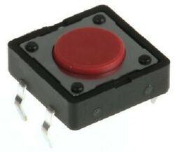 24x Apem Red Button Tactile Switches 10pcs 50ma Momentary Spst, Through Hole