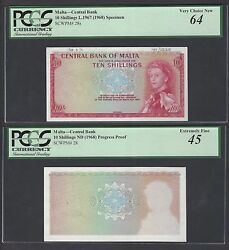 Malta 2 Notes 10 Shillings 25-3-1971 P28s Specimen And Proof Xf-aunc
