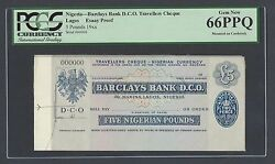 Nigeria - Baclays Bank D.c.o, Travellers Cheque 5 Pounds 19 Essay Proof Unc