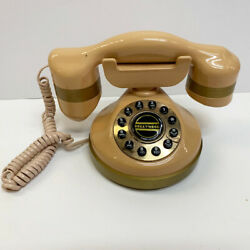 Old Fashioned Vintage Style Hollywood Tan Pink Push Button Dial Phone Telephone