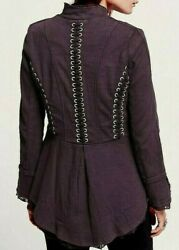 Free People Victorian Lace Up Military Jacket Corset Style Ruffle Plum Steampunk