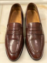Meermin 7 D Shell Cordovan Half Strap Penny Loafers Red Burgundy French Tips