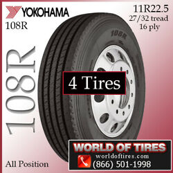 Yokohama 108r 4 Commercial Tires 11r22.5 With Free Shipping