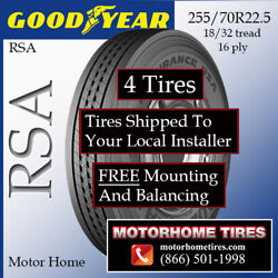 Motor Home Tires 255 70r22.5 Goodyear Includes Shipping And Installation