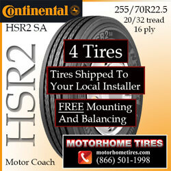 Motor Home Tires 255 70r22.5 Continental Includes Shipping And Installation