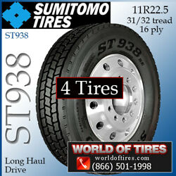 Sumitomo St938 4 Commercial Tires 11r22.5 With Free Shipping