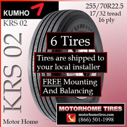 Motor Home Tires 255 70r22.5 Kumho Includes Shipping And Installation