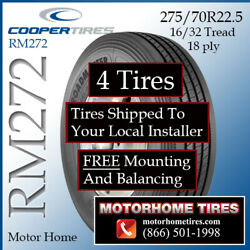 275/70r22.5 Rv Tires Motor Home Tires Roadmaster Rm272 Includes Shipping/install