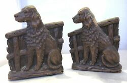 Syroco Wood English Setter Dog Figural Bookends Vintage Pair 7andrdquo In Height