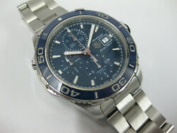 Gents Tag Heuer Aquaracer Chrono Watch Stainless Steel Blue Dial Cak2112