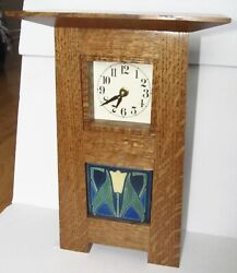 Handcrafted Arts And Crafts Quartersawn White Oak Mantel Clock Lotus Motawi Tile