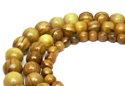 Olive Wood Beads Balls 8 10 And 0 15/32in Wooden Beads Cord For Mala Chain +