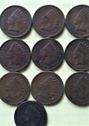Indian Penny, One Cent, 1902,1903,1904,1905,1906,1907 Set Of 10