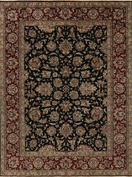 Black Floral Oriental Agra Area Rug Wool Hand-knotted 9x12 Home Decor Carpet