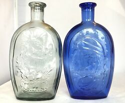 Vintage Lot Of Two Twd Cobalt Blue And Light Blue Tinted Bottles 9andrdquo In Height