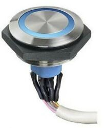 Apem Push Button Switch Momentary Spst, Solder/quick Connect, Illume Silver/blue