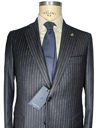Nwt Tombolini Luxury Stretch Wool Pinstriped Suit 100 Wool It 48 M Us 38 Blue