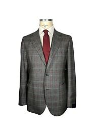 Nwt Tombolini Luxury Stretch Wool Check Plaid Suit 100 Wool It 50 L Us 40 Gray
