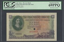 South Africa 10 Rand Nd1961-65 P106ct Color Trial Uncirculated