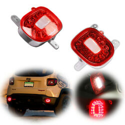 Red Lens Led Bumper Tail Brake Lamp Rear Foglights For 2015-2021 Jeep Renegade