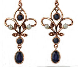 Genuine 9ct Rose Gold Natural Sapphire And Pearl Chandelier Filigree Drop Earrings