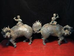 A Pair Chinese Old Antique Bronze Handmade Kylin Boy Girl Fengshui Statue