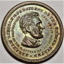 1865 Abraham Lincoln Martr Medal Token King-283 6-640b Lewis Joy New York 21mm