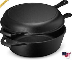 Cast Iron Multi Cooker Skillet Set Dutch Oven For Bread Frying, Cooking Iron Pan