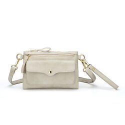 Aitbags Beige leather small flap Crossbody bag wallet wristlet for Women $17.99