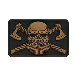 BEARDED SKULL CROSSED AXES PATCH EMBLEM 3D STICKER TACTICAL MORALE HOOK amp; LOOP