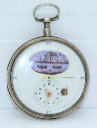 Antique Fusee Pocket Watch With Sweep Seconds And Multi-color Dial Runs Serviced