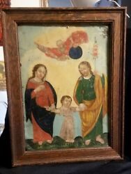 Rare Outstanding 19th Century Mexican Retablo Painting On Tin The Holy Family