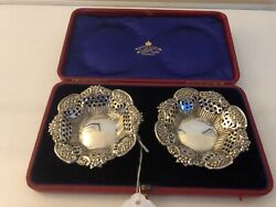 Red Faux Cased Pair Of Solid Silver Pierced Bon Bon Dishes Birmingham 1904