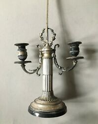 Antique Silver-plated Bouillotte Candelabra Candle Holder Incomplete