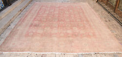 Turkish Oushak Rug 10and039x12and0395and039and039 Vintage Faded Color Primitive Carpet Rose Design