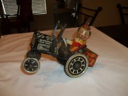 1930and039s Marx Joy Rider Wind Up Tin Toy Eccentric Crazy Car Mechanical Toy