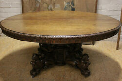 Large Antique French Renaissance Hunt Carved Round Table With Carved Animals