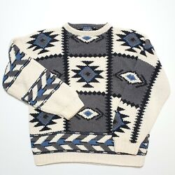 Chaps Hand Knit Aztec South Western Sweater Vintage 1980s 90s Sport
