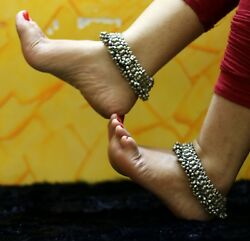 Real Silver Antique Fabulous Old Anklets Foot Bracelet Tribal Jewelry Ank03