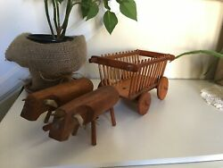 Wooden Cart Pulled By Oxen Vintage Handmade Toy Home Decor Display Basket