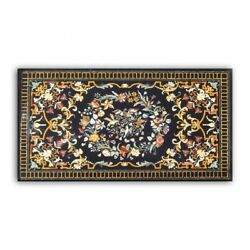 60 X 36 Center Dining Patio Marble Table Top Precious Stones Inlaid Art Work