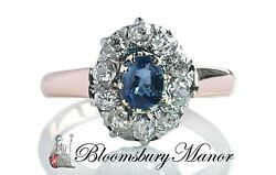French Victorian Sapphire And Old Cut Diamond Engagement Ring In 18k Rose Gold