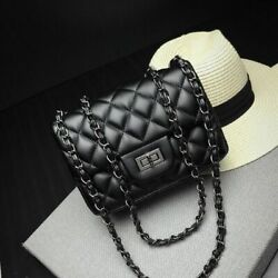 Small Quilted Crossbody Shoulder Bag Chain Clutch Bags Leather Women Plaid Black $29.99