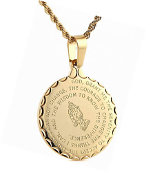Bible Verse Prayer Necklace Gold Stainless Steel Praying Hands Coin Pendant