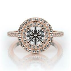 2.10 Ct Round Si2 Color G Double Halo Diamond Engagement Ring 14k Rose Gold