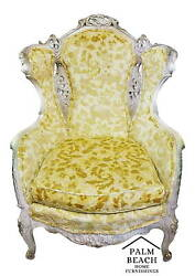 Euc Antique French Louis Xv Rococo Hand Carved Burnout Velvet Wing Back Chair