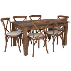60 X 38'' Antique Rustic Farm Table Set With 6 Cross Back Chairs And Cushions